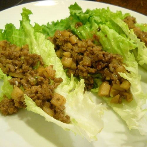 Thai pork lettuce wraps